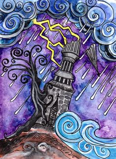 XVI: The Tower  The tower comes crashing down, brought down by the elements around it. The tree clinging to the tower will be quick to fall too.