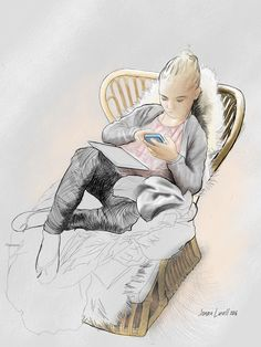 My youngest daughter, Sara. Illustration by Jonas Linell. Fingerpainted in Sketchbook on iPad