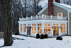 Screened in porch with a deck up top…I Could totally do this! @ Home Designs