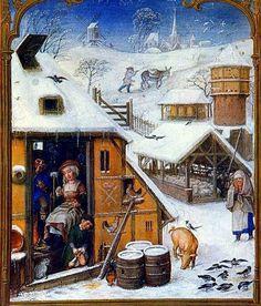 """Luty w gospodarstwie. Miniatura z """"Brewiarza Griminich"""" (ok. 1510 r.)"""