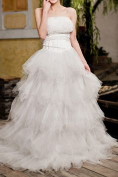 US $338.40 | Net Strapless Sweep Train A-line Wedding Dress with Sequins