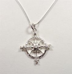 STERLING SILVER NAUTICAL MARITIME NAVIGATION COMPASS ROSE PENDANT NECKLACE