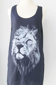 The Lion Animal Head Print in Black tank top Mini dress charcoal Black