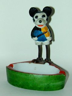Mickey Mouse Bisque Ashtray w/ Spring Legs (1930's)