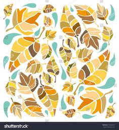 Illustration of leaves, foliage, in warm colors, shades of beige and brown and drops in warm shade of turquoise, blue isolated on white the white background