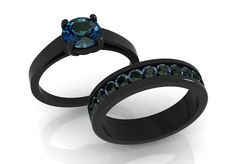 14k Black Gold Elegant Engagement or Wedding Set with Eternity Band with Alexandrites Item# WR-0397
