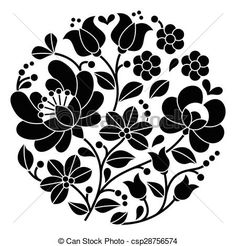 Vector - Kalocsai black Hungarian embroidery - stock illustration, royalty free illustrations, stock clip art icon, stock clipart icons, logo, line art, EPS picture, pictures, graphic, graphics, drawing, drawings, vector image, artwork, EPS vector art