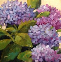 """Daily Paintworks - """"Blue View"""" - Original Fine Art for Sale - © Libby Anderson Lilac Painting, Hydrangea Painting, Flower Images, Flower Art, Fine Art Auctions, Elements Of Art, Leaf Art, Acrylic Art, Amazing Art"""