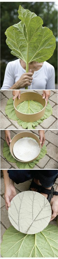 "Cool stepping stone idea.  Might be a fun project for girl scouts.  Possibly a Mother's Day project???    ""Stone material is cement. Be sure to rub mineral oil or vaseline on the leaf before pouring so that it separates easily from the cement"""