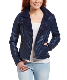 This Cobalt Lace & Faux Leather Moto Jacket is perfect! #zulilyfinds
