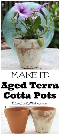Simple tutorial on How to Age Terra Cotta Pots... Doesn't look TOTALLY authentic (because it's not!), but it'll do!!