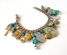 Handmade Religious Charm Flower Bracelet Saints by WickedCrafts, $45.00