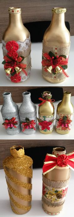Garrafas com decoração de natal.