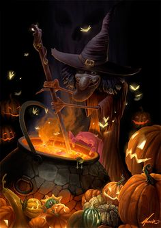 Halloween Art: Magical Witch & Cauldron