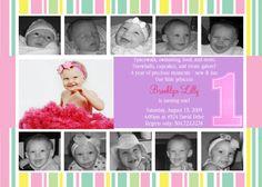 First Birthday Girl Invitation  JPEG file by chantelmatthew, $18.00