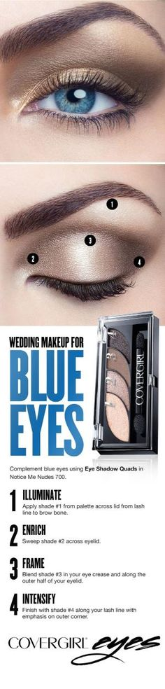 How to make up blue eyes. The makeup of the Comment maquiller les yeux bleus. smokey eye, learn to make up blue eyes, easy tutorial - Wedding Makeup For Blue Eyes, Blue Eye Makeup, Wedding Hair And Makeup, Skin Makeup, Makeup Light, Neutral Makeup, Prom Makeup, Makeup Eyebrows, Eyeshadow Makeup