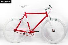 Nolobi 2014 Red/White Single Speed Bike Fixie/Fixed Gear Track Bike - Frame - Fixed Gear Frenzy Fixed Gear, Red And White, Speed Bike, Track, Bicycles, Logo, Outdoor, Outdoors, Logos