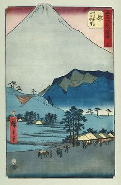 53 Stations of the Tokkaido Road series by Hiroshige. Anna loves these most of all. Japanese Artwork, Japanese Prints, Japanese Woodcut, Woodblock Print, Sculpture, Pattern Art, Artist At Work, Lovers Art, Art History