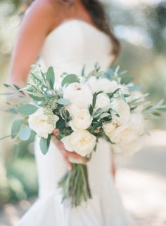 Gorgeous white bouquet: http://www.stylemepretty.com/2015/02/12/romantic-ivory-grey-ojai-valley-inn-wedding/   Photography: Diana McGregor - http://www.dianamcgregor.com/