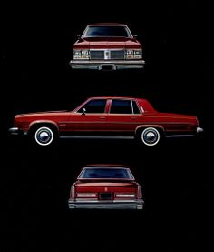 1977 Oldsmobile sales literature featuring the newly downsized Ninety-Eight Regency Sedan.