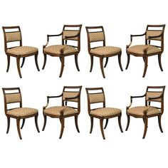 Set of Eight Regency Style Dining Chairs, Parish Hadley, circa 1976 | From a unique collection of antique and modern dining room chairs at https://www.1stdibs.com/furniture/seating/dining-room-chairs/