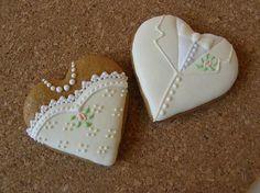 svadobné medovníčky Cookie Decorating, Gingerbread, Sugar, Cookies, Creative, Desserts, Wedding, Food, Biscuits
