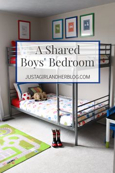 This shared boys' bedroom is so creative-- great use of a small space! | JustAGirlAndHerBlog.com