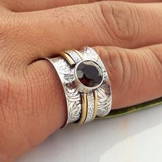 Fine Jewellery Purposeful Solid 925 Sterling Silver Ring Spinner Ring Meditation Statement Ring Size M V17 Products Hot Sale Precious Metal Without Stones