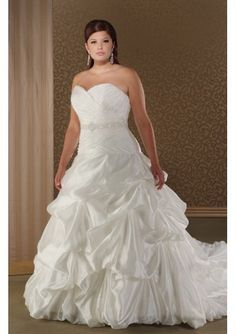 Taffeta Sweetheart Strapless Asymmetrical Pick-up Ball Gown with Semi Cathedral Train Plus Size Wedding Dress