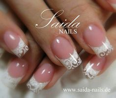 White and clear lace style nails Bridal Nails Designs, Bridal Nail Art, Nail Art Designs, Pretty Nails, Fun Nails, Wedding Day Nails, Acryl Nails, Lace Nails, Beautiful Nail Designs