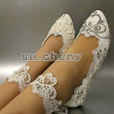 Top 10 Most Gorgeous Bridal Shoes Ballet Wedding Shoes, Comfy Wedding Shoes, Bridal Flats, Wedding Boots, Lace Flats, Bride Shoes Flats, Pearl Shoes, Bridesmaid Shoes, Pumps
