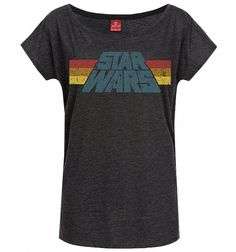 Women's Charcoal Marl Vintage Star Wars Logo Slouch T-Shirt
