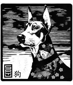 ✽   'year of the dog'  -  john c thurbin  -  linocut