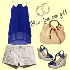 Blues, tan and gold