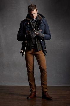 Jacket, pants shoes. Blue & brown,