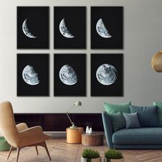 This gorgeous print set of 6 moon phases makes a bold statement in any room. Theyre adapted from an antique astronomy textbook that Ive lovingly repaired and restored. Ive also antiqued the backgrounds with a delicate patina to give it a more vintage feel.  Choose from six beautiful colors: Midnight Blue, Black, Aubergine, Blue, Slate, or Brown.  Available framed or unframed.  OPTIONS ❤ Buy this in a set of 4: http://etsy.me/2jP9oYx ❤ Buy this in a set of 5: http://et...
