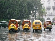 Coco Taxis in the rain Havana, Cuba. I ❤ Havana Netssa.com/...