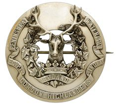 British; Gordon Highlanders, Officer's Silver Plaid Brooch, 1881 hallmarked