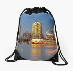 Vancouver City, Downtown, Science World museum, Vancouver Harbor, night time, The windows of the houses, illuminated by the setting sun, glow orange and this glow is reflected in the mirror water of the bay. • Also buy this artwork on bags, apparel, stickers, and more.