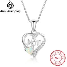 Genuine 925 Sterling Silver Women Necklaces Pendants With Heart Shape Opal Stone Best Jewelry Gift for Mom Mother (Lam Hub Fong)