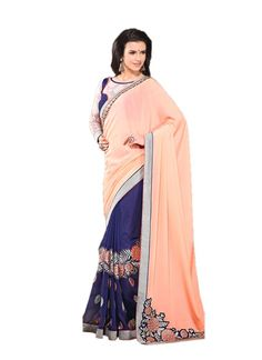 Discover the latest in stunning designer saree online. Buy this wonderous embroidered and patch border work georgette designer saree.