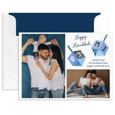 Personalized Dreidels Hanukkah Photo Cards