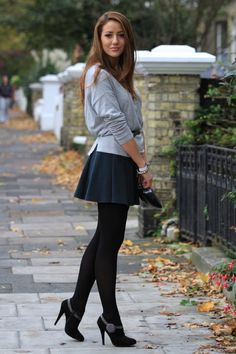 Tights with a short skirt. . . nothing cuter