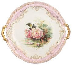 Pink and white floral serving tray...