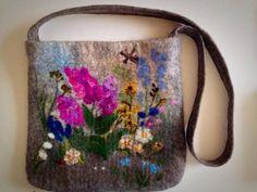 felt bag.Felted flower felt tote bag.  bag of wool. by MariaAgafos