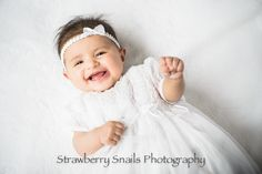 Baptism portrait. Love her smile. Pittsburgh photographer, Strawberry Snails Photography