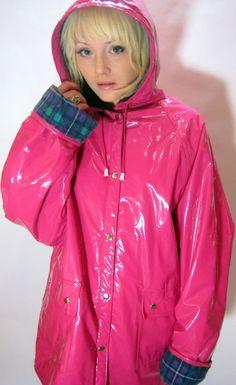 4f3c6939 Pink PVC Pink Raincoat, Plastic Raincoat, Raincoat Jacket, Hooded Raincoat, Rain  Jacket