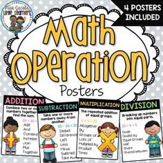 Math Operations Posters: Display these math operations posters in your classroom for a bright, engaging and informative visual reminder for your students. Math operations posters included in this pack are:Addition Subtraction Multiplication Division