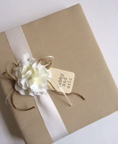 Large Custom Design Wedding Album - Tea Dyed Muslin, White Hydrangeas, Your Choice of Ribbon Color - Hand-stamped Tag, Bride & Groom's Names...