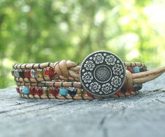 Gypsy Wrap Bohemian Bracelet, Leather and Cathedral Beads, Silver and Gold Gilded, Handmade, Jewelry, Flower Button